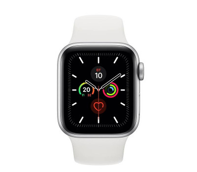 Часы Apple Watch Series 5 44 мм Aluminum Case with Sport Band Silver/White (серебристый/белый) MWVD2